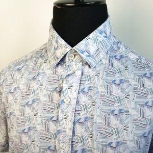 Robert Graham Blue/White SS Button Down Shirt